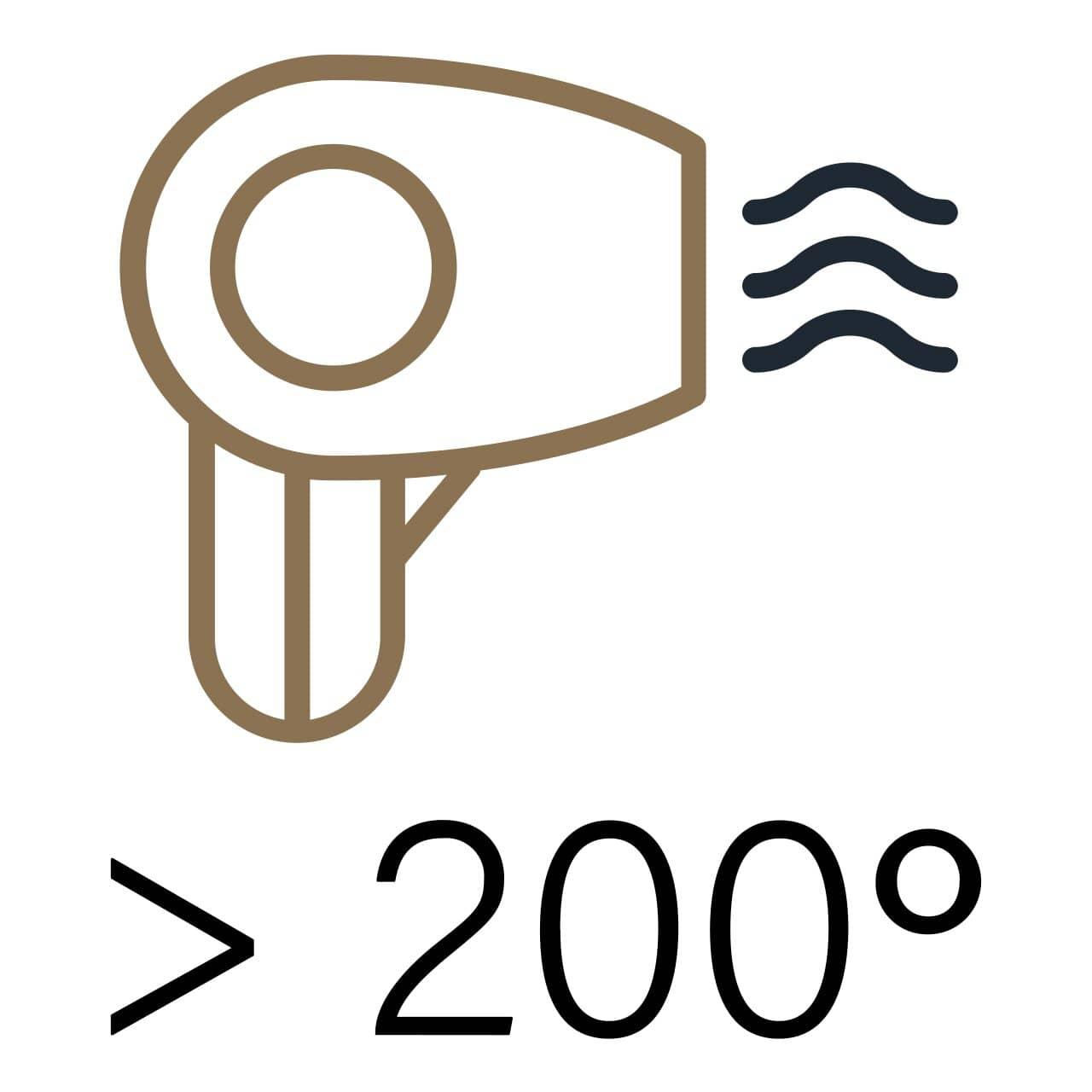 secador o plancha hasta 200 grados