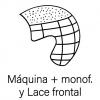 Combina a máquina con monofilamento en zona superior y Lace frontal